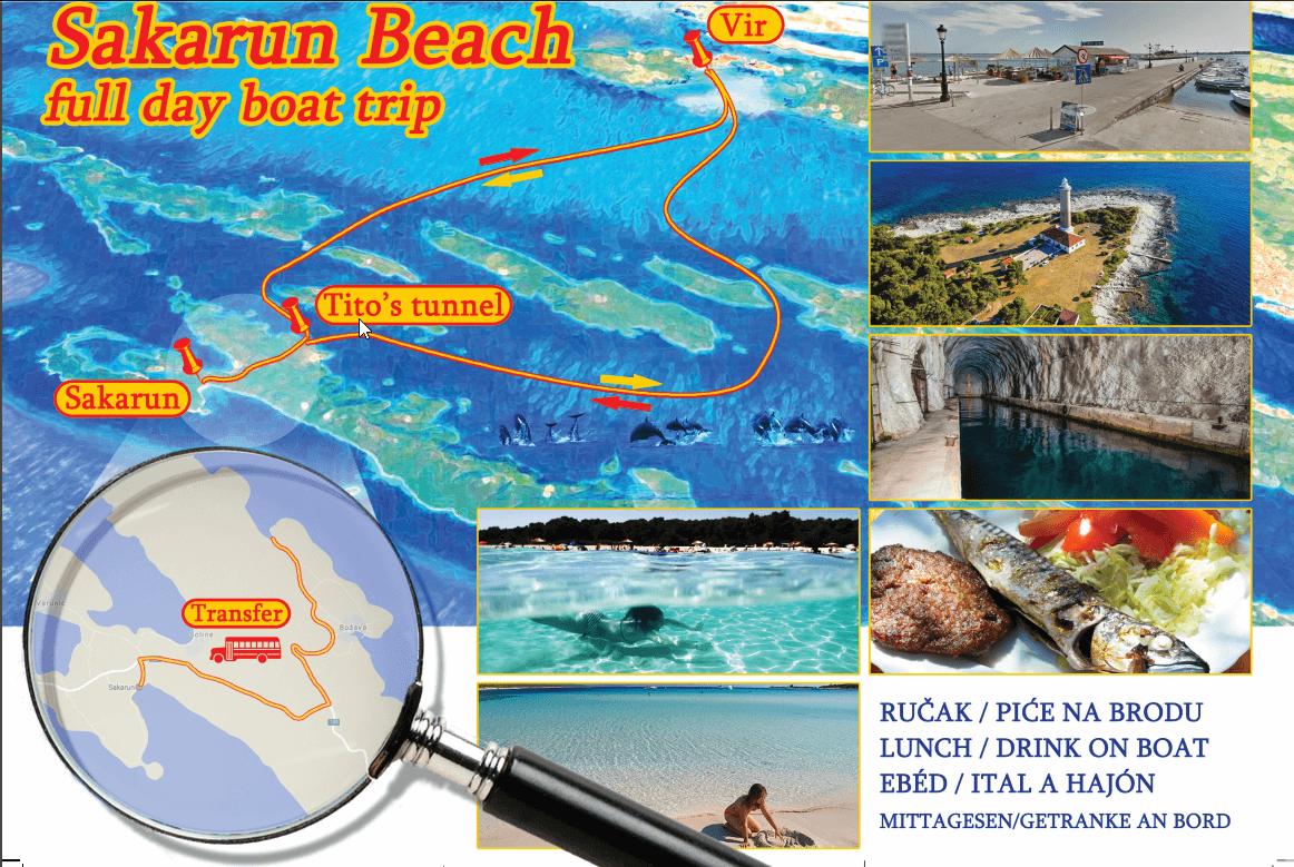 Detailed map from Vir island to Sakarun beach on Long Island